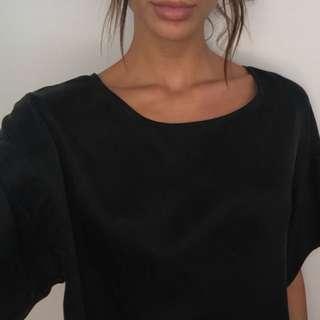 Black raw silk loose blouse