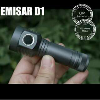 EMISAR D1 Compact Long Throw LED Flashlight - 1,300 Lumens & 400 Meters Throw