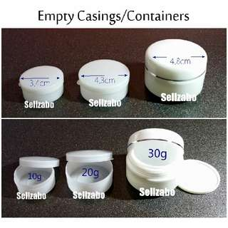 Empty Plastic Round Containers Casings Sellzabo White Colour Portable Cream Balm Samples 10g 20g 30g
