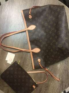 Authentic LV Louis Vuttion  Never Full MM