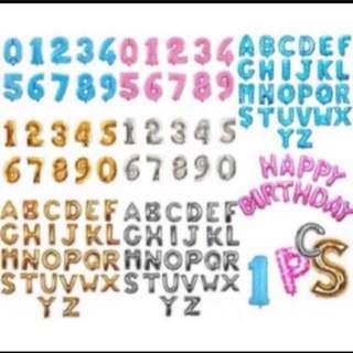 "Alphabet Number Foil Balloon - 16"" (40cm)"