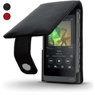 iGadgitz Black Leather Flip Case Cover for Sony Walkman NW-A35 NW-A40 MP3 Player with Magnetic Closure + Screen Protector