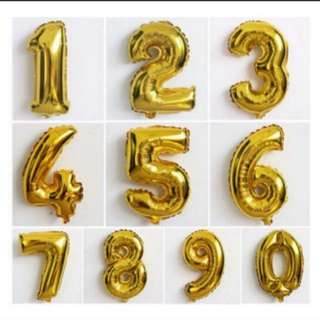 "Big Number Balloon Foil GOLD SILVER - 32"" (80cm)"