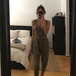 Khaki jumpsuit with rope belt