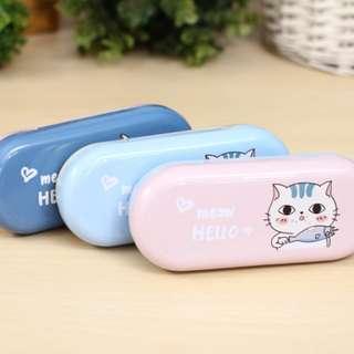 Meow Hello Tin Glasses Case