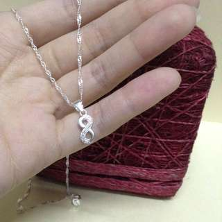 Genuine 925 Sterling Italy Silver Infinity w/ Stones Necklace