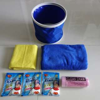 Car Wash Toolkit Package (Microfiber Cloth/Towel, Chamois Cloth, Washing Powder, Foldable Pail)