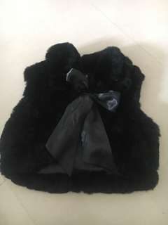 Fur Vest with Ribbon Bow. Black color. Very New 🌼Used once only🌼😅