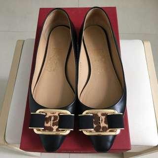 Ferragamo豹紋馬毛金扣芭蕾舞鞋