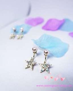 韓國星星閃閃純銀耳環