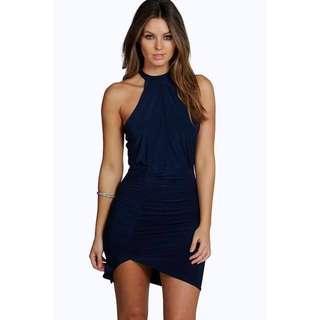 Tigermist Navy Blue Slinky High Neck Bodycon Dress