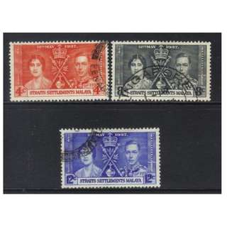 STRAITS SETTLEMENTS 1937 CORONATION USED SET BL547