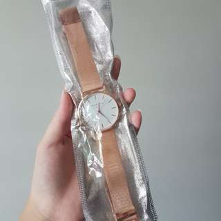 uzzlang korean rose gold watch