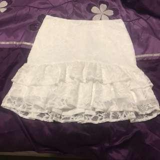 Dissh white lace skirt size 8