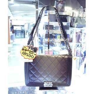 Chanel BOY Black / Gray Leather 30cm Chain Shoulder Hand Bag PHW 香奈兒 黑色 / 灰色 漸變色 牛皮 皮革 鍊袋 肩袋 手挽袋 手袋 袋
