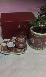 Vintage wanshou Tea set (bonsai & holder sold separately)