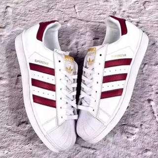 👟2018年春季Adidas愛迪達限量款酒紅貝殼頭鞋(限時免運)