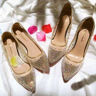 Crystal Mesh Ladies' Pointed Shoes