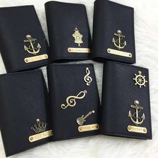 Personalised Passport Holder Travel Passport Case Customised Name Saffiano Black Passport with Various Charm-Many Colour & Charms - FREE SHIPPING