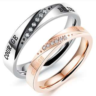 [SALES]👫BLACK|ROSE GOLD COURAGE|BELIEF CUBIC ZIRCONIA WEDDING RING STAINLESS STEEL COUPLE NECKLACE COUPLE ENGAGEMENT GIFT ANNIVERSARY GIFT| VALENTINE'S GIFT👫
