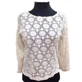 New:White crocheted pullover
