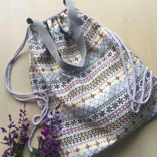 2 in 1 tote bag and drawstring backpack
