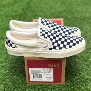 SLIP ON OG CHEKERBOARD NAVY PREMIUM WAFFLE DT BNIB (Brand New In Box) FULL TAG BARCODE MADE IN CHINA 40/41/42/43/44