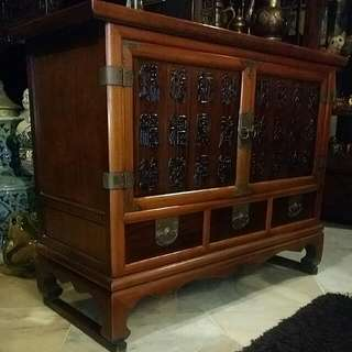 Chinese Vintage Cabinet With Carved Ancient Chinese Letterings