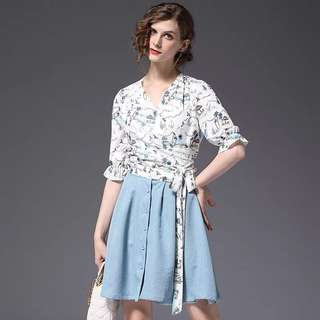 2pc set floral wrap bow tie chiffon blouse TOP with flare a line button down skirt