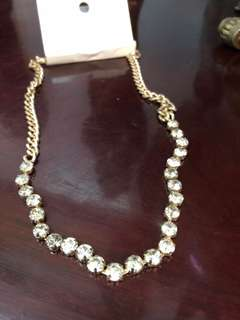 H&M gold necklace with rhinestones