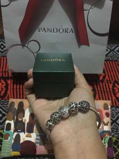 Authentic Pandora Bracelet Collier Barrel Clasp and Openwork Heart Charms Preloved Original