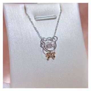 小熊守護18k金雙色鑽石頸鏈🐻全新窩心禮物生日情人節女朋友閨蜜