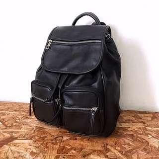 🇬🇧英國Atmosphere Backpack 經典黑色PU皮革背包