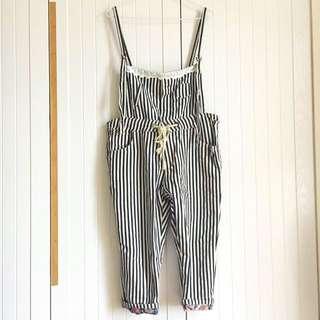 🚚 降價!日本購入 直條紋拼接變形蟲圖騰蕾絲綁帶吊帶褲