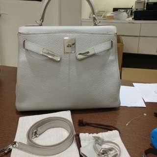Hermes kelly 28 pearl gray