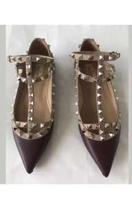 Valentino Rockstud Cage Flats, Plum, size 39. 💯 Authentic, Guaranteed