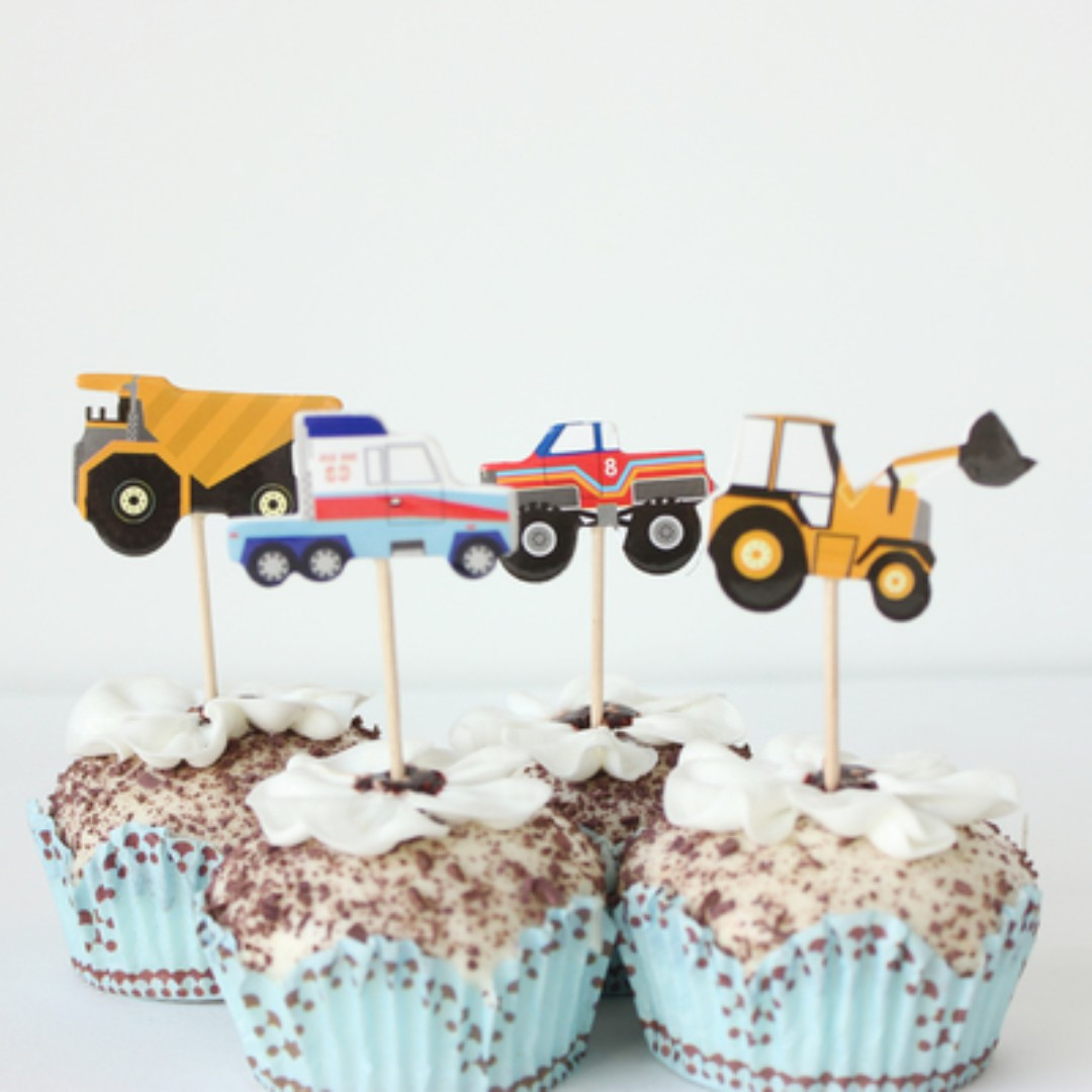 12 Pcs Vehicles Construction Car Truck Tractor Cupcake Toppers Cake Topper Muffin Decoration Baking Picks Birthday Party Toys Games Bricks Figurines
