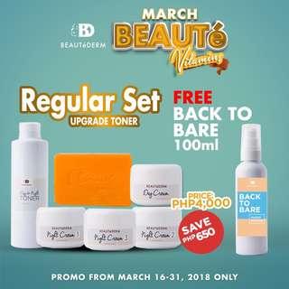 PROMO! Beautederm Regular Set Upgrade Toner / Facial Set / Anti-pimple Set FREE Back to Bare Makeup Remover 100ml
