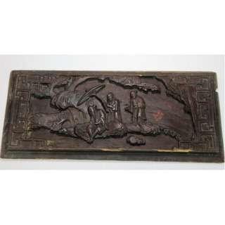 清代 - 獨板木彫高浮彫双面人物荷花花板