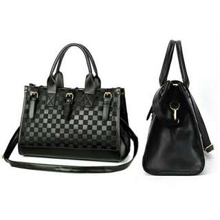 Shoulder Handbag Women's Grid Bag Checker Board Synthetic Leather