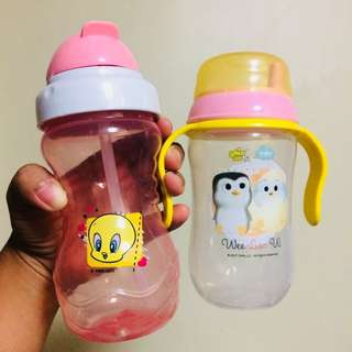 BABY GIRL SIPPY CUP AND STRAW BOTTLE