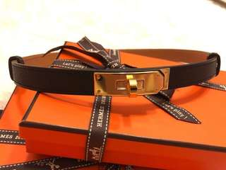 Hermes Kelly belt in black