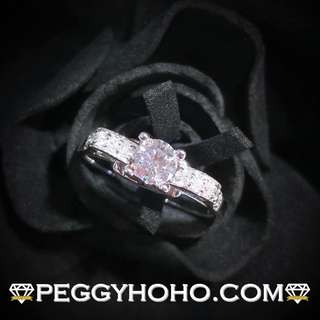 【Peggyhoho】全新18K白金 ((單粒39份)) 配微鑲小鑽共49份鑽石戒指|經典系列 | 店長精選