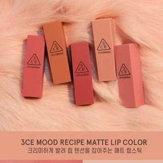 [Cheapest!!] 3ce Mood Recipe Matte Lipstick