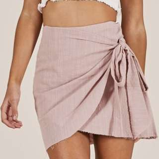 Blush wrap skirt