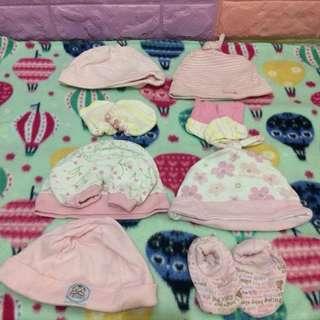 BABY GIRL SET BONNETS/MITTENS/ BOOTIES