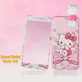 Hello kitty manjat plus tempred glass  xiaomu redmi note 5a