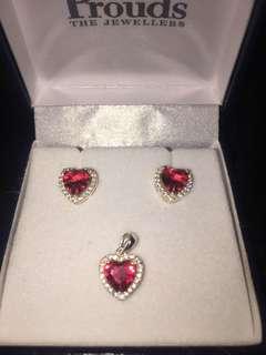 Cute heart earrings and pendant