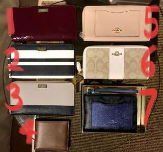 Kate Spade and Coach Wallets