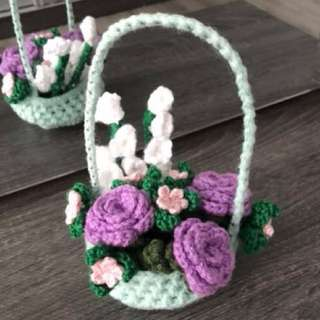 Crochet Mint green basket of flowers - lilac roses and lily of the valley